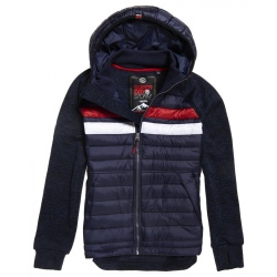 Superdry STORM CHEST STRIPE HYBRID ZIPHOOD rich navy