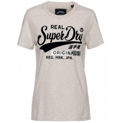 Superdry REAL ORIGINALS FLOCK ENTRY TEE oatmeal