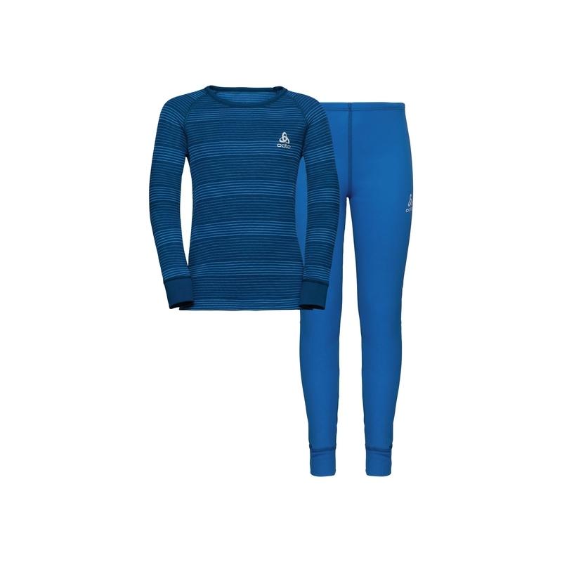 Odlo SET WARM ENFANT diving navy/directoire blue/stripes