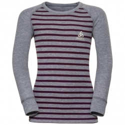Odlo T-SHIRT ML ACTIVE WARM ENFANTS Grey melange-pickled beet-stripes