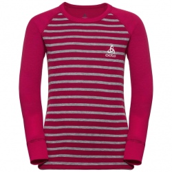 Odlo T-SHIRT ML ACTIVE WARM ENFANTS Cerise-grey melange-stripes