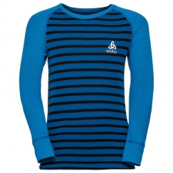 Odlo T-SHIRT ML ACTIVE WARM ENFANTS Directoire blue-black-stripes
