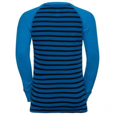 Odlo T-SHIRT ML ACTIVE WARM ENFANTS Directoire blue-black-stripes