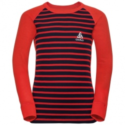 Odlo T-SHIRT ML ACTIVE WARM ENFANTS Poinciana-diving navy-stripes