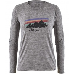 T-shirt Patagonia WOMEN'S LONG-SLEEVED CAPILENE COOL DAILY GRAPHIC SHIRT feather grey