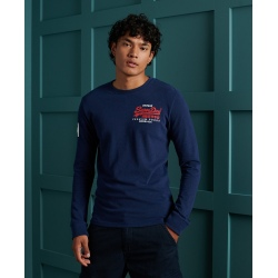 Sweat Superdry VINTAGE LOGO DUO LS TOP Midnight Blue grit