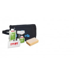 Hot and cold waxing kit for touring skis.