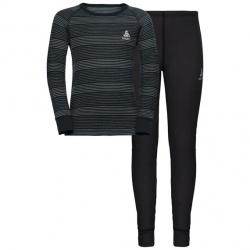 Technical underwear set Odlo ACTIVE WARM Black/Grey Melange/Stripes