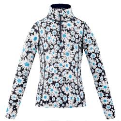 Poivre Blanc Daisy Blue Zipper Sweater 1/4