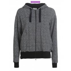 Full Zip Deha HERRINGBONE Milk Jacquard Sweater