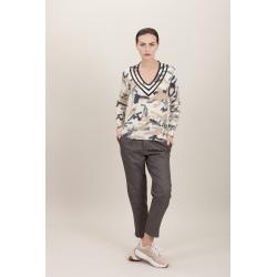 Esthème V Two-tone Military Sweater