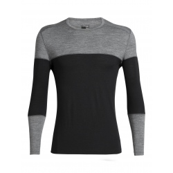 T-shirt ML Icebreaker MENS 200 OASIS DELUXE Black/Gritstone Heather