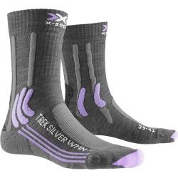 Chaussettes X-SOCKS TREK SILVER LADY Grey Melange/Bright Lavender