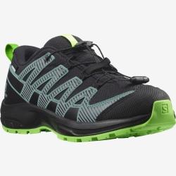 Salomon XA PRO V8 CSWP J Black/Black/Green Gecko trail shoes