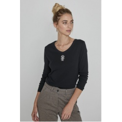 Diplodocus ML V-NECK ZIG ZAG COTE Black Sweater